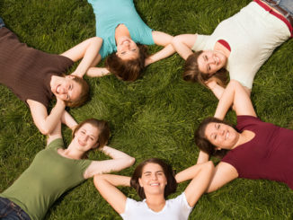 Group of College Girls in a Circle