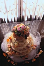 Wedding Cake Decorated with Bouquet